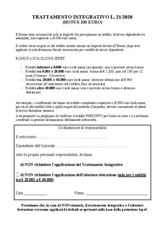 Rinuncia Bonus 100 euro